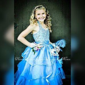 Girls Tulle Beaded Chiffon Turquoise Dress!